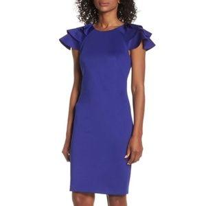 NWT Eliza J Ruffle Sleeve Sheath Dress